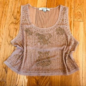 Forever 21 Tan Sheer Mesh Beaded Cropped Tank Top